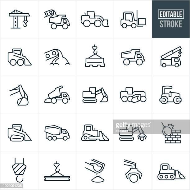 illustrazioni stock, clip art, cartoni animati e icone di tendenza di icone della linea sottile dei macchinari pesanti - corsa modificabile - macchinario