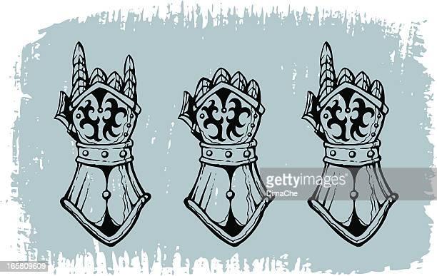 heavy metal gloves - traditional armor stock illustrations