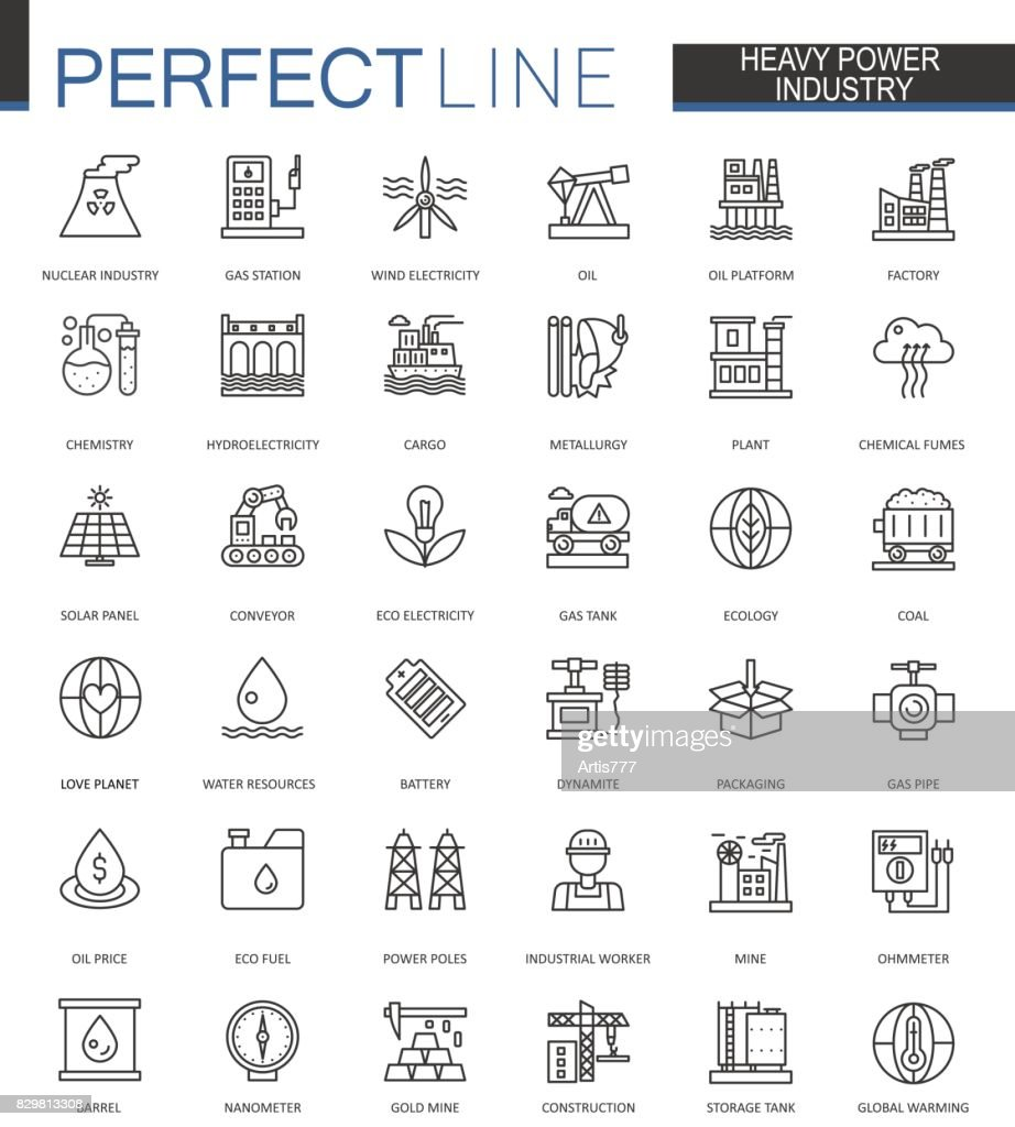 Heavy power industry thin line web icons set. Factory and renewable energy Outline stroke icons design.