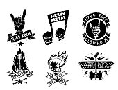 Heavy rock music vector badge vintage label with punk skull symbol hard rock-n-roll sound sticker emblem illustration