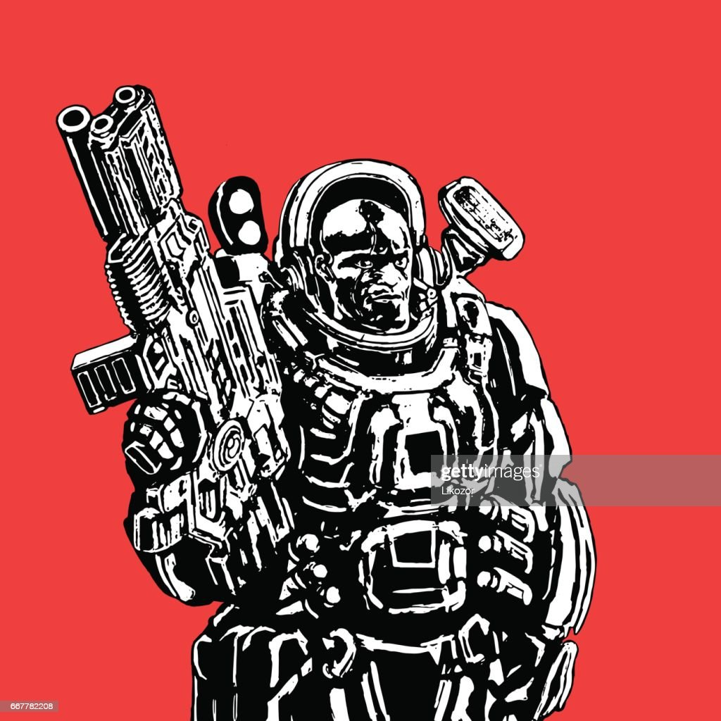 Heavy space marine in suit with large plasma rifle. Vector illustration.