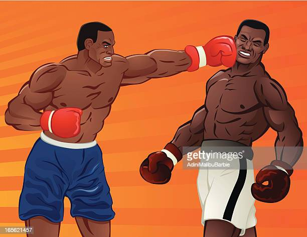 heavy weight boxing - knockout stock illustrations