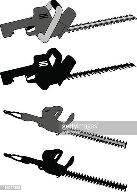 hedge clippers or trimmers - landscaping tool - hedge trimmer stock illustrations, clip art, cartoons, & icons