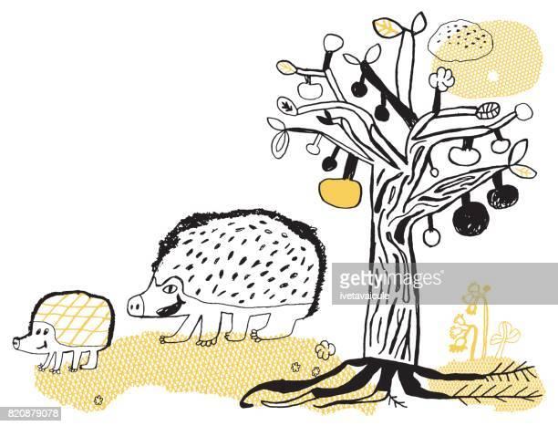 Hérisson et apple tree