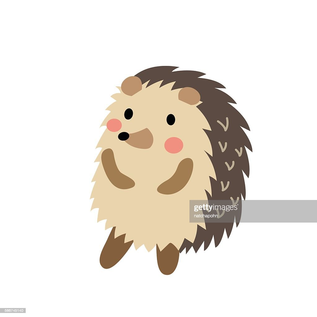 Hedgehog standing on two legs animal cartoon character vector illustration.