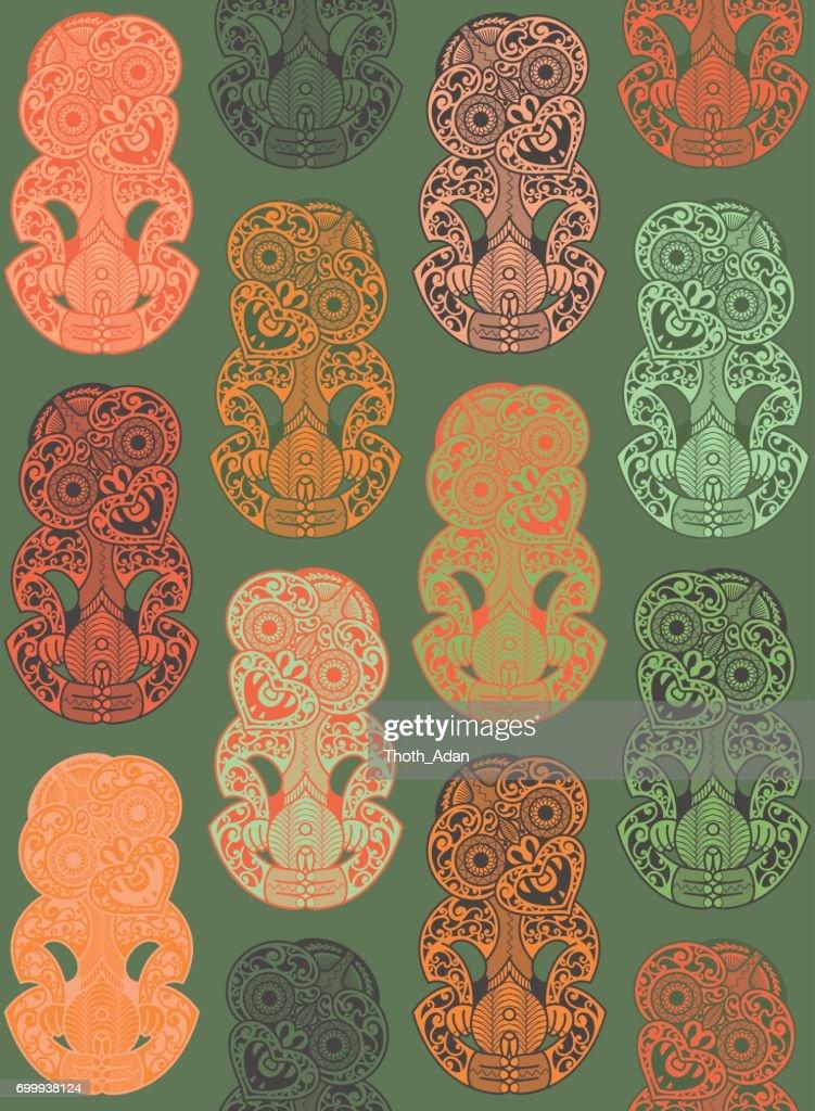 Hei-Tikis in Orange and Jadeite Green (Seamless Pattern)
