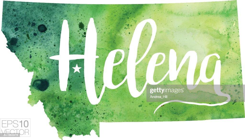 Helena Montana Usa Vector Watercolor Map Vector Art   Getty Images