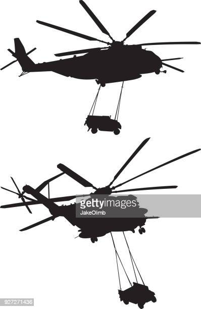Helicopter Carrying Humvee Silhouettes
