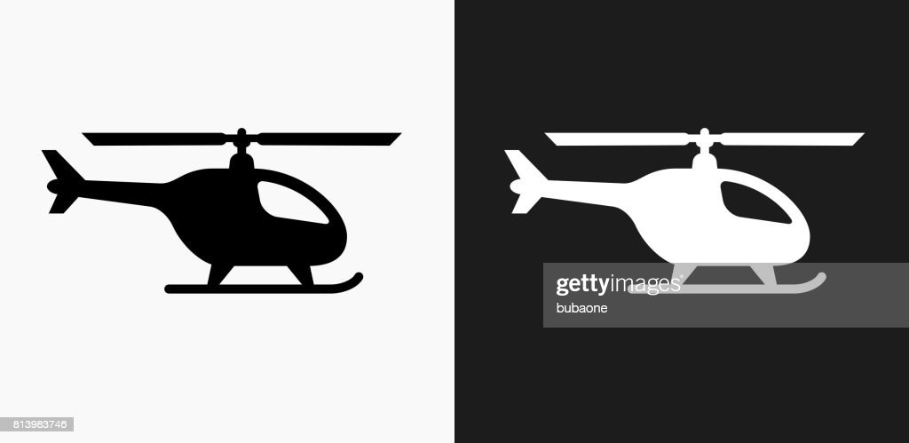 Helicopter Icon on Black and White Vector Backgrounds