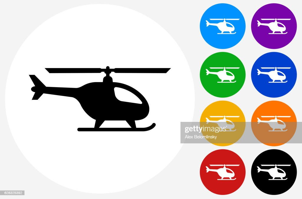 Helicopter Icon on Flat Color Circle Buttons