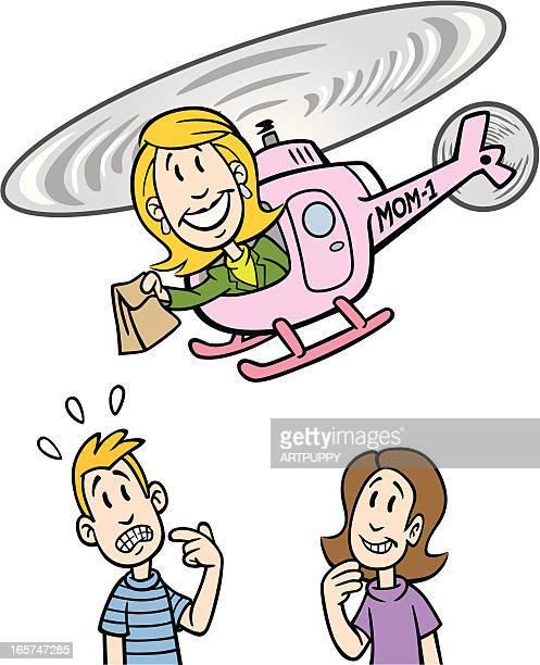 illustrations, cliparts, dessins animés et icônes de hélicoptère mère avec enfants - parents