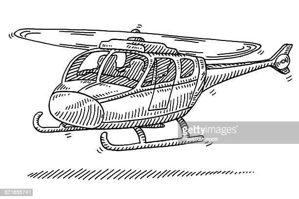 stockillustraties, clipart, cartoons en iconen met helicopter start drawing - helikopter
