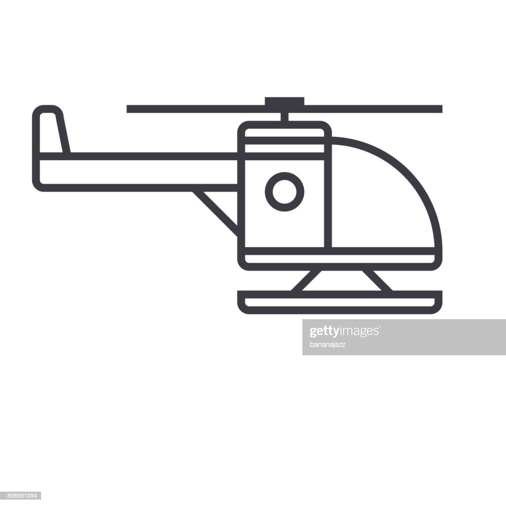 helicopter vector line icon, sign, illustration on background, editable strokes