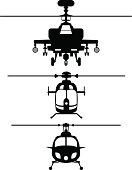 Helicopters frontviews silhouettes