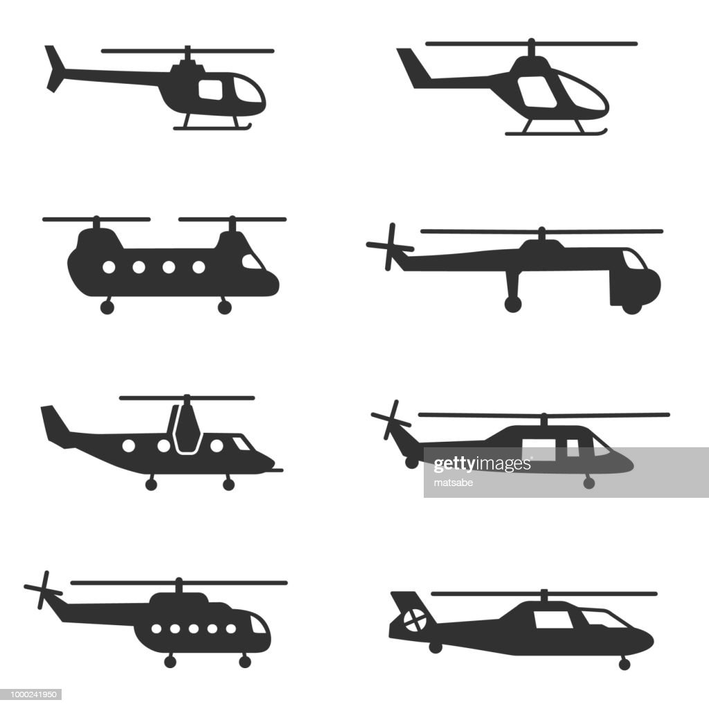 helicopters icons set