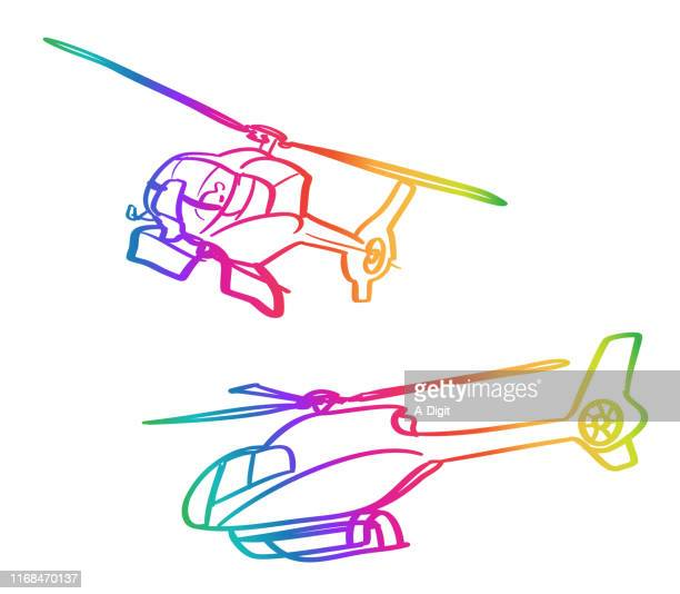 helicopters rainbow - rescue stock illustrations