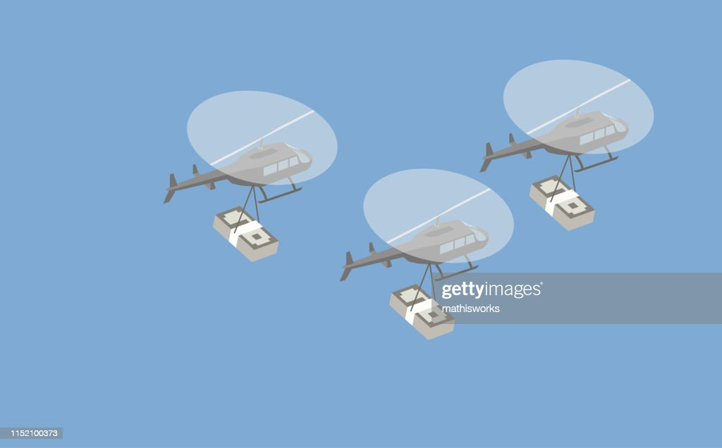 Helicopters with cash stacks : stock illustration