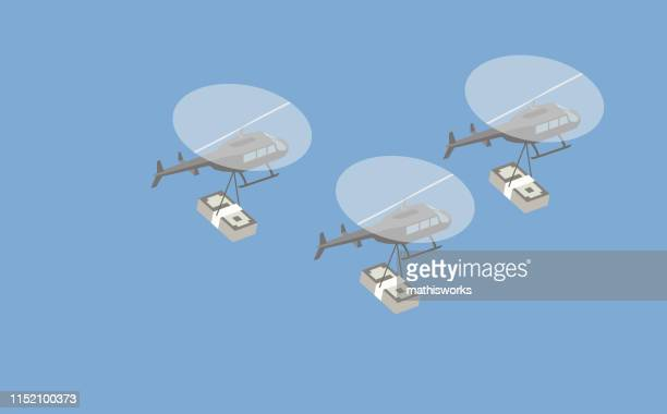 helicopters with cash stacks - mathisworks stock illustrations