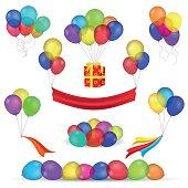 Helium balloons and birthday decoration icons