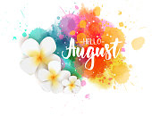 Hello August - floral summer concept background