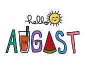 Hello August word and cute sun cartoon vector illustration