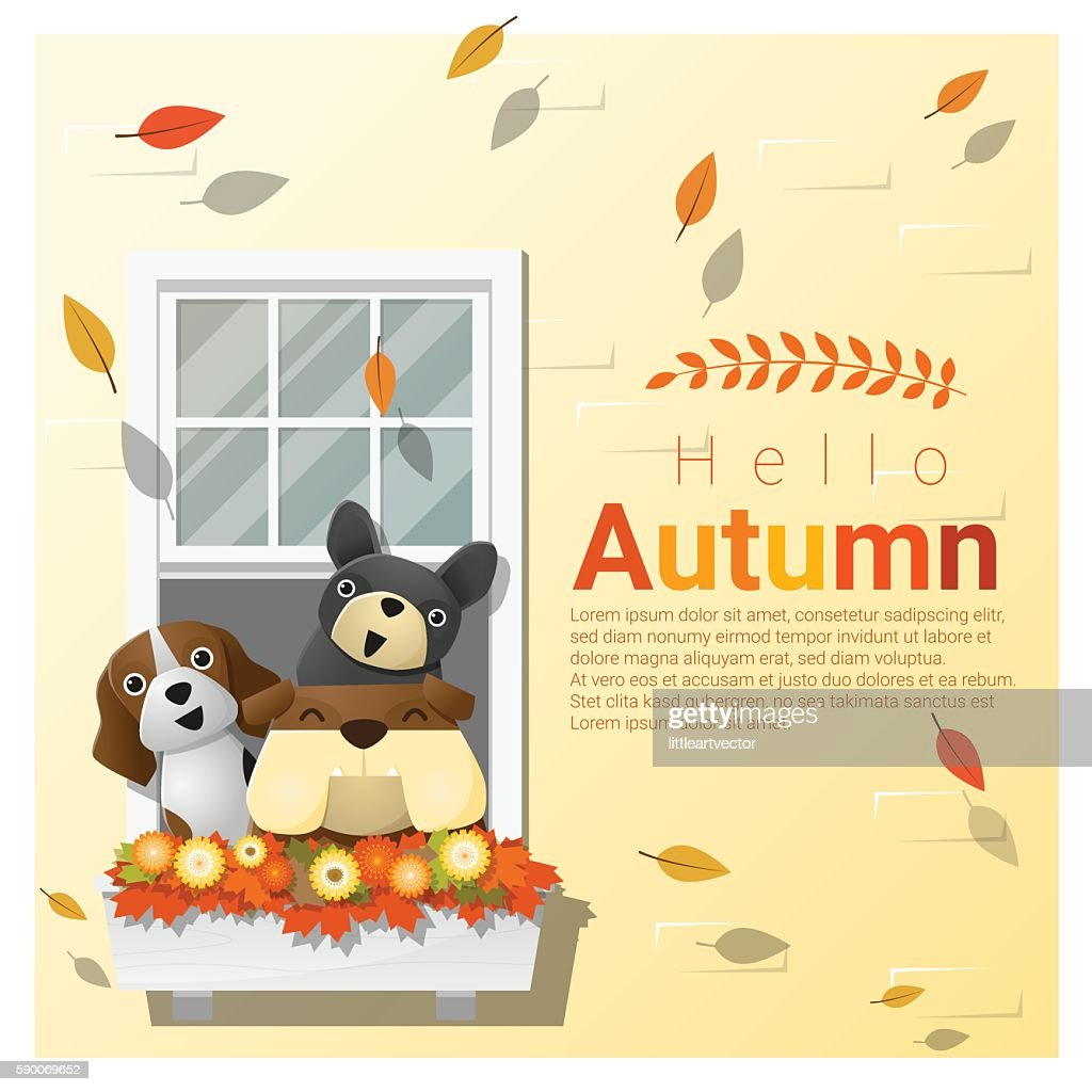 Hello autumn background with dogs
