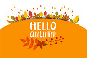 Hello Autumn, background with falling leaves, yellow, orange, brown, fall, lettering, template for poster, banner, vector, isolated