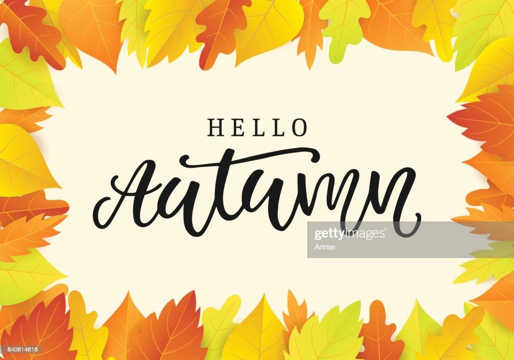 Hallo Blätter Herbst Banner Vorlage Mit Leuchtend Bunte Vektorgrafik ...
