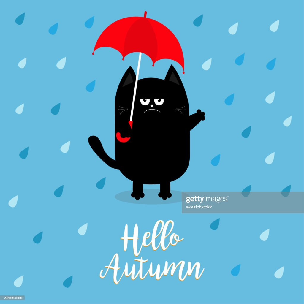 Hello autumn. Black cat holding red umbrella. Rain drops. Angry sad emotion. Hate fall. Cute funny cartoon baby character. Pet animal collection. Blue background. Isolated