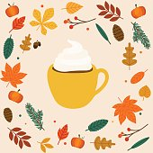 Hello autumn. Cup of coffee/latte Autumn leafs on the background. Flat design modern vector illustration concept.