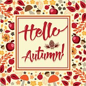Hello Autumn! - Floral square background with mushrooms and apples