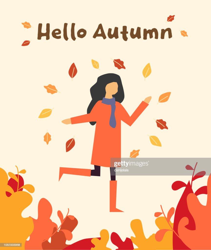 hello autumn, happy girl with autumn leafs, vector illustration