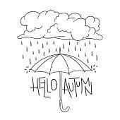 Hello Autumn lettering, umbrella, cloud, rain, raindrops
