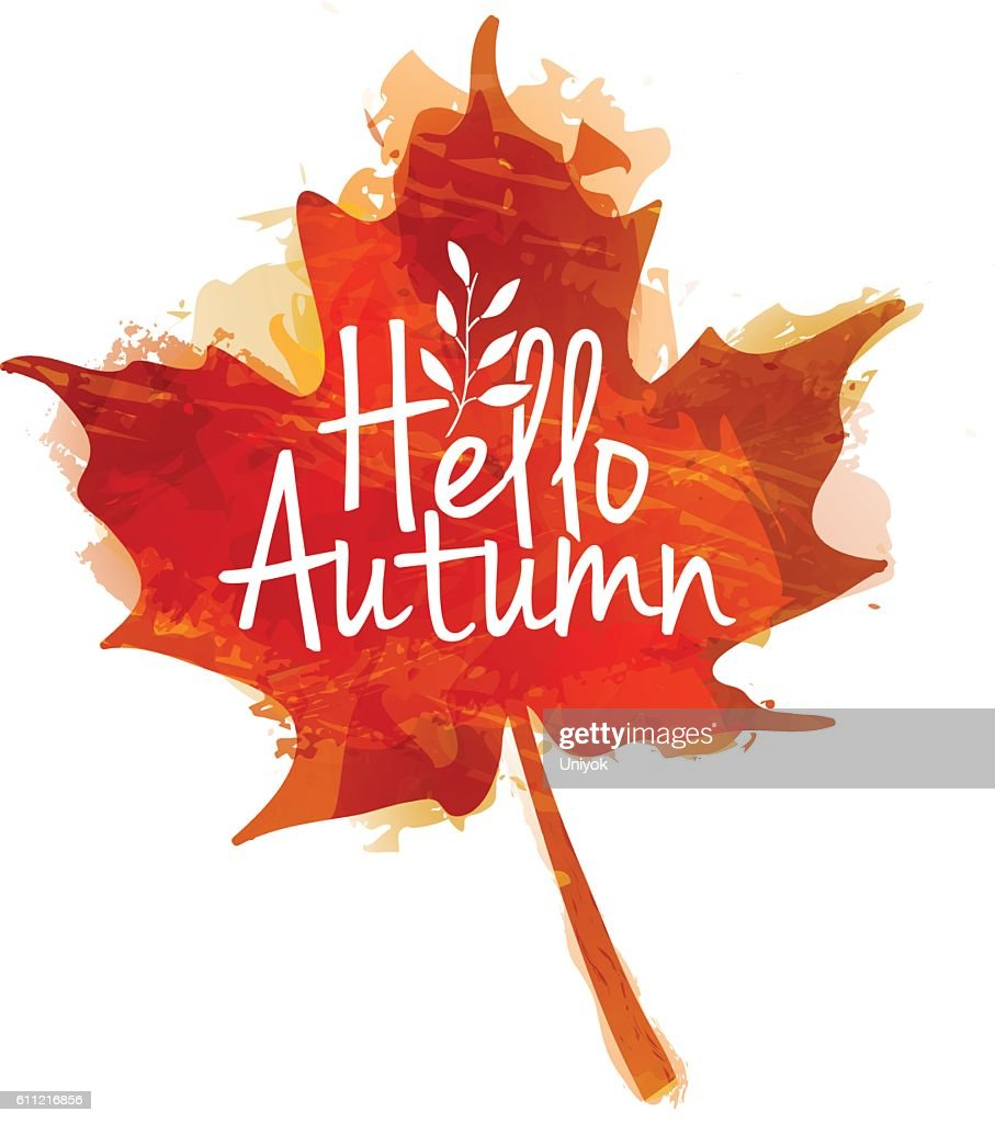 Hello autumn logo with maple leaves and watercolor texture