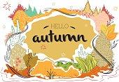 Hello autumn nature illustration vector