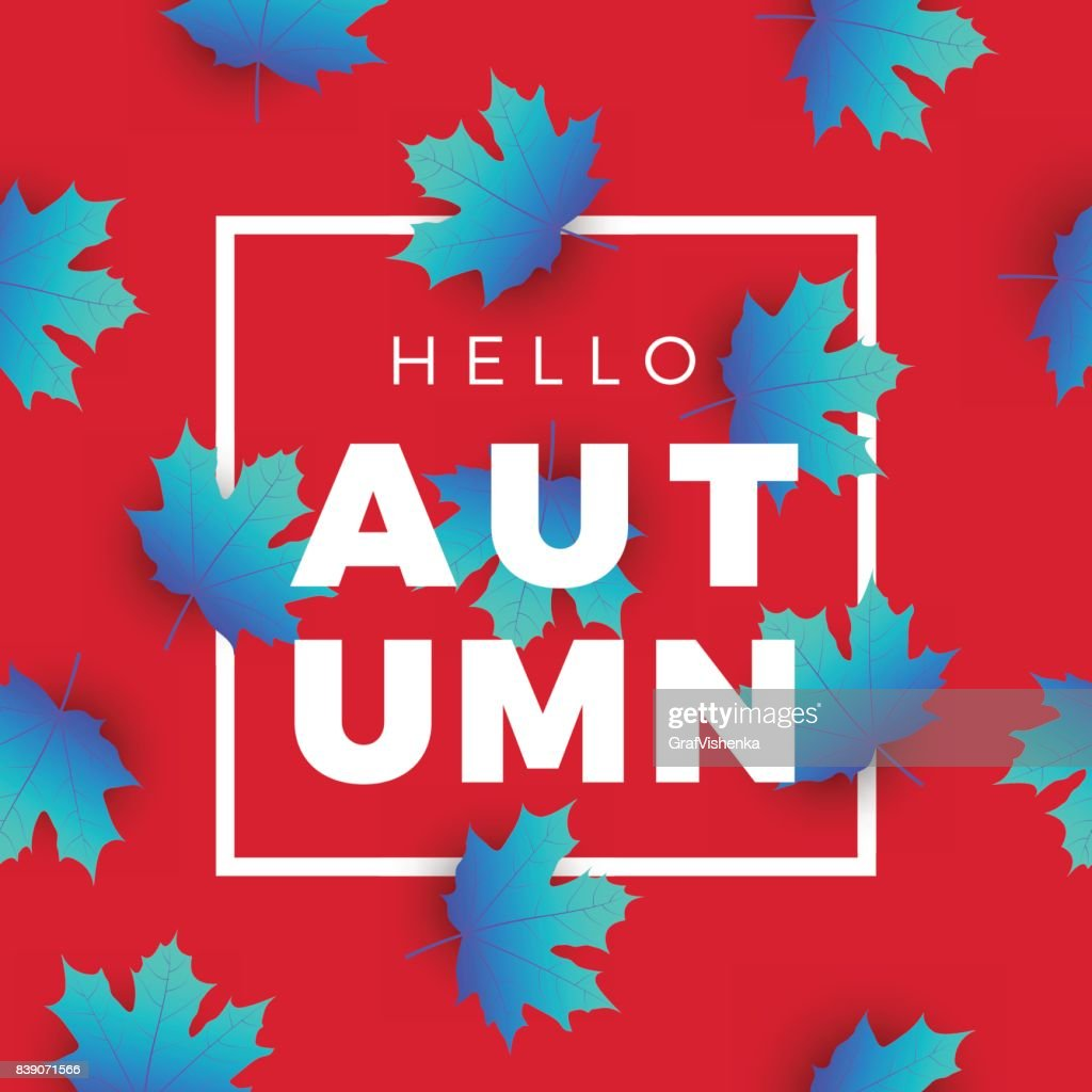 Hello Autumn Promotion Web Banner With Floral Pattern. Promo Fall Season Quote  Layout With Maple