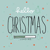 Hello Christmas loading word vector illustration doodle style