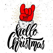 Hello christmas. Santa Claus hand with rock and roll sign. Design element for poster, card, banner. Vector illustration