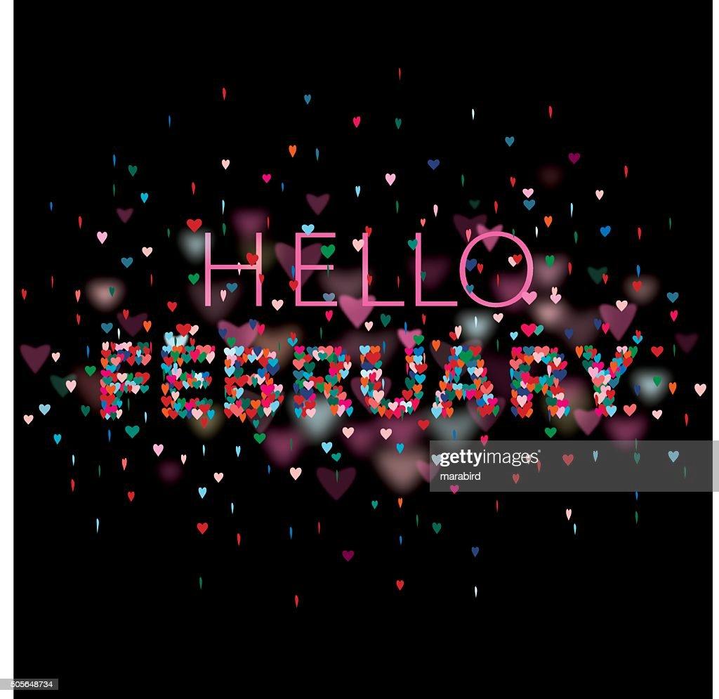Hello February Colorful hearts black background : stock illustration