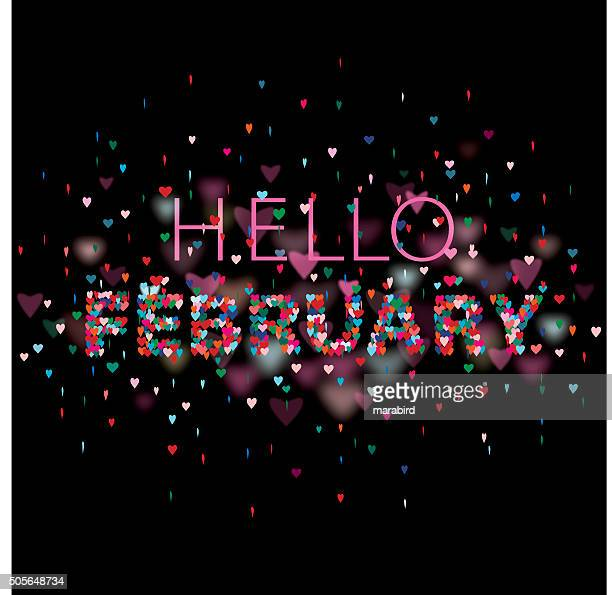 Hello February Colorful hearts black background