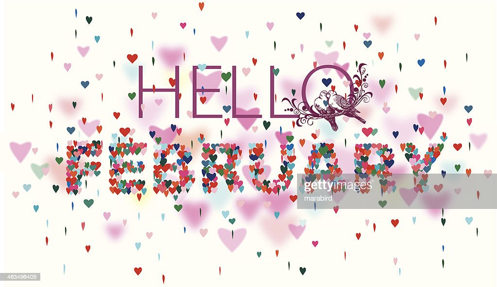 Hello February Colorful hearts white background : stock illustration