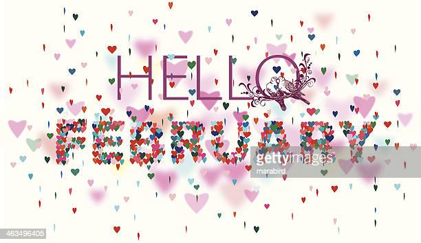 Hello February Colorful hearts white background