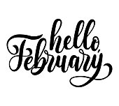 Hello february lettering card with snowlakes. Hand drawn inspirational winter quote  with doodles. Winter greeting card.