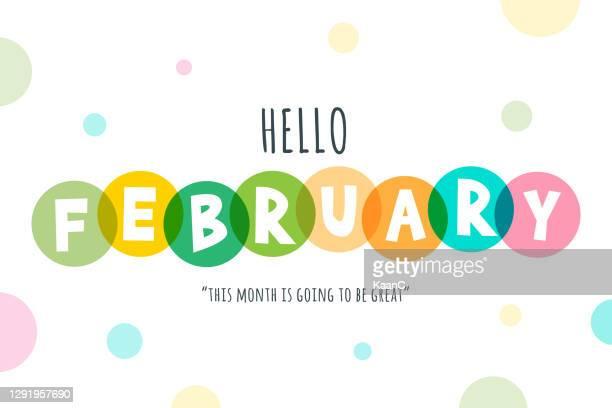 hello february lettering stock illustration - february stock illustrations