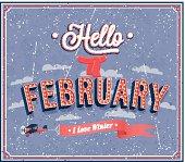 Hello february typographic design.