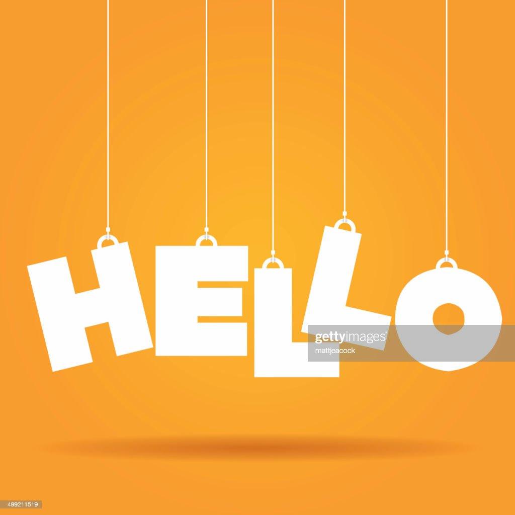hello hanging label vector art getty images