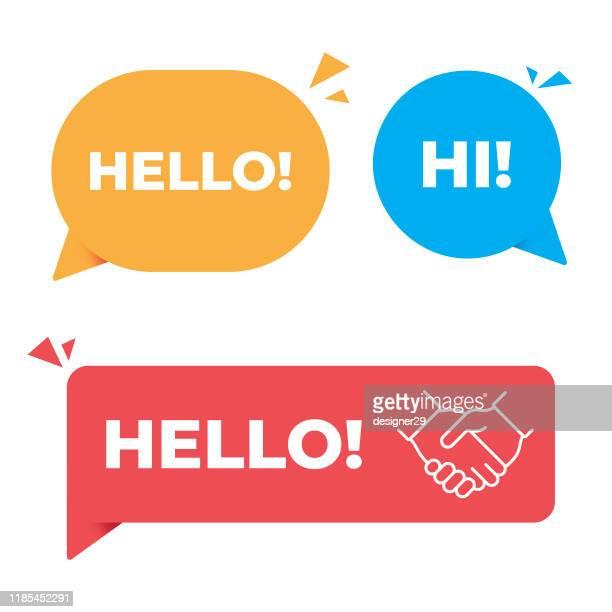 hallo, hallo rede blase und handshake banner vektor-design. - sprechblase stock-grafiken, -clipart, -cartoons und -symbole