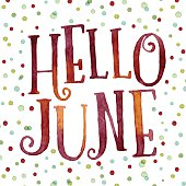 Hello June in colorful watercolor dots
