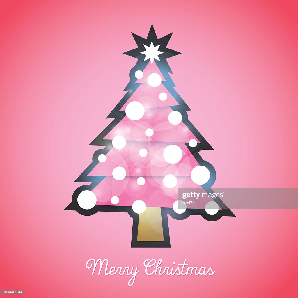 Hello Kitty, Christmas tree, pink tree, vector