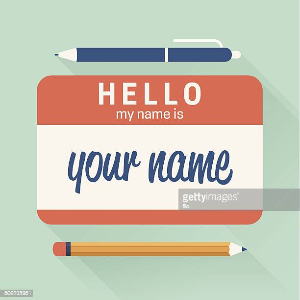 hello my name is badge - verification stock illustrations, clip art, cartoons, & icons